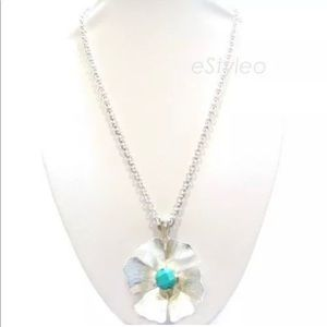 Jessica Simpson Flower Pendant Necklace Silver